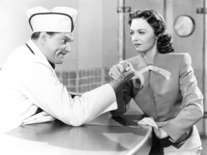 Red Skelton doing his soda jerk routine (with Donna Reed) in Thousands Cheer