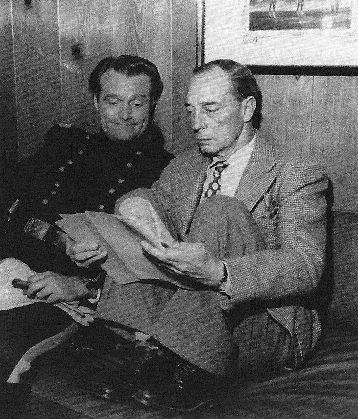 Red and Buster Keaton going over the script for a remake of THE GENERAL. A SOUTHERN YANKEE stars Red Skelton and Arlene Dahl (1948)