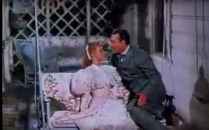 Sally Forrest and Red Skelton couritng in Excuse My Dust