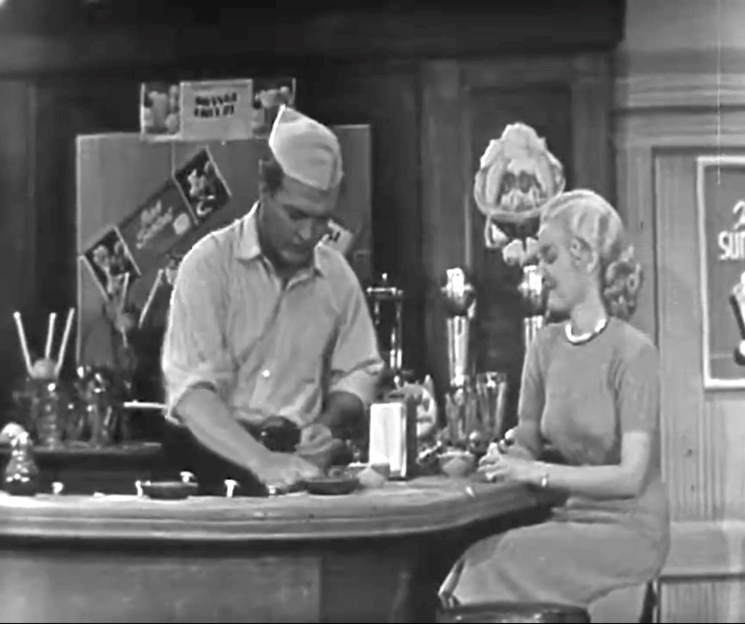 "Red Skelton as soda jerk, Lucille Knoch as customer, in ""G. I. McPugg"""
