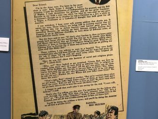 """Red Skelton wrote """"This Is No Joke"""" during his first year in the Army. It was published in the September 1946 issue of Classic Comics. This photo of the column was taken at the Red Skelton Museum in Vincennes."""