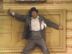 Red Skelton, as Willy Lump Lump, in the topsy turvy room in The Red Skelton Scrapbook 66