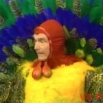 "Red in costume in The Silent Spot - The Thanksgiving Turkey, on The Red Skelton Hour episode, ""Sit down on my lap, dummy boy"""