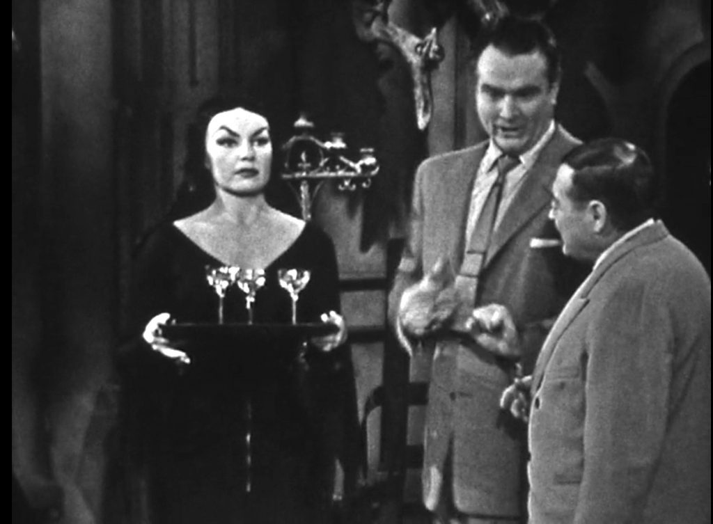 "Peter Lorre's ""wife"", Vampira. Vampira: He looks like a real dead wire to me. Red: Well, this kid's slab happy!"