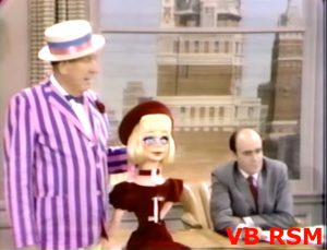 """Paul Ford, his ventriloquist dummy Prunella, and the poor theatrical agent in """"How Stupid of Cupid"""""""