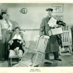 Virginia O'Brien, Eleanor Powell, and Red Skelton trying to relax on board ship in deck chairs – if Red can win his battle with the chair in Ship Ahoy