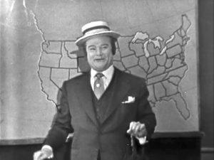 """Red Skelton as TV weatherman in """"Mountain Washing"""""""