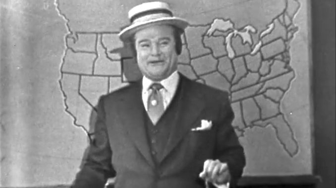 Red Skelton as a weather man in the Mountain Washin' episode of The Red Skelton Show