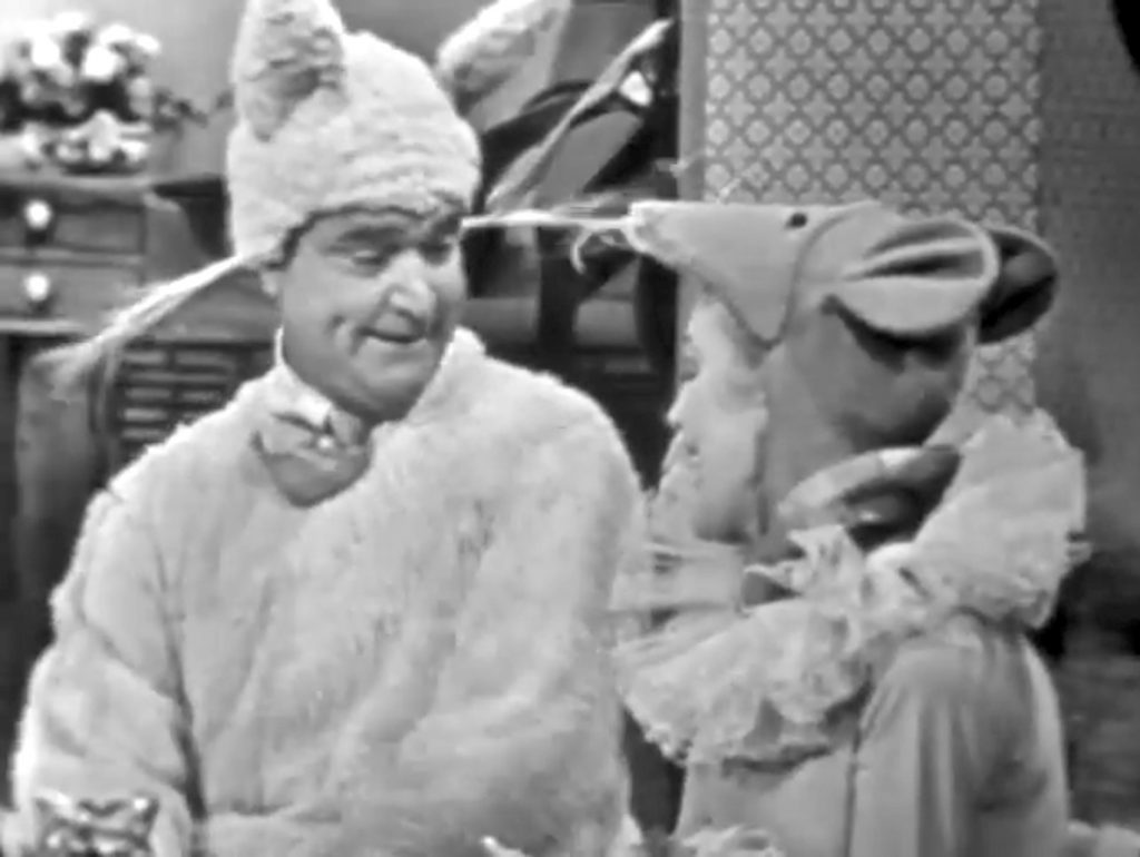 """The shy Willie Lump Lump is dressed for Halloween as a cat, with his girlfriend Virginia Grey as a mouse - so he can catch her! In """"Halloween Show"""""""