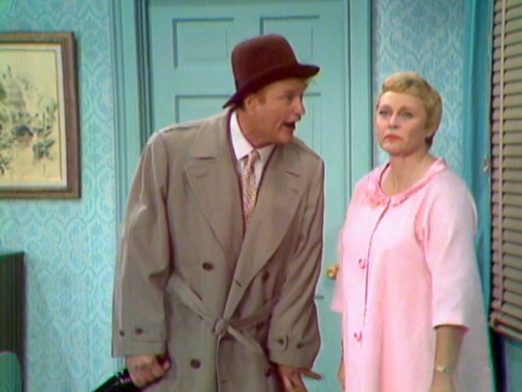 Willie Lump-Lump, perpetual drunk, arguing with his wife Pat Carroll.
