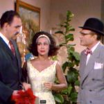 "The plumber, Clara/Bridget, and George Appleby in ""Who's Afraid of the Big Bad Wife?"""